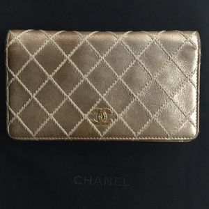 Chanel Metallic Leather Bifold Long Wallet 🌹